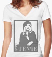 STEVIE NICKS VECTOR PAIGE Women's Fitted V-Neck T-Shirt