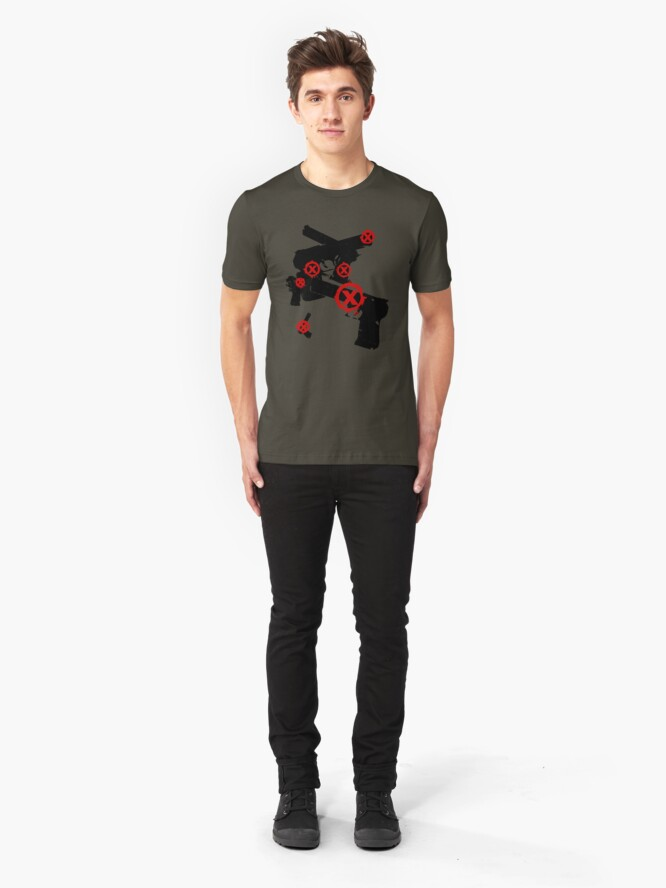 Alternate view of no gangster, don't shoot v03 Slim Fit T-Shirt