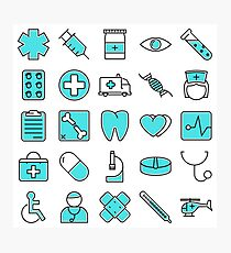 Medical Icons Symbol Pattern Photographic Print