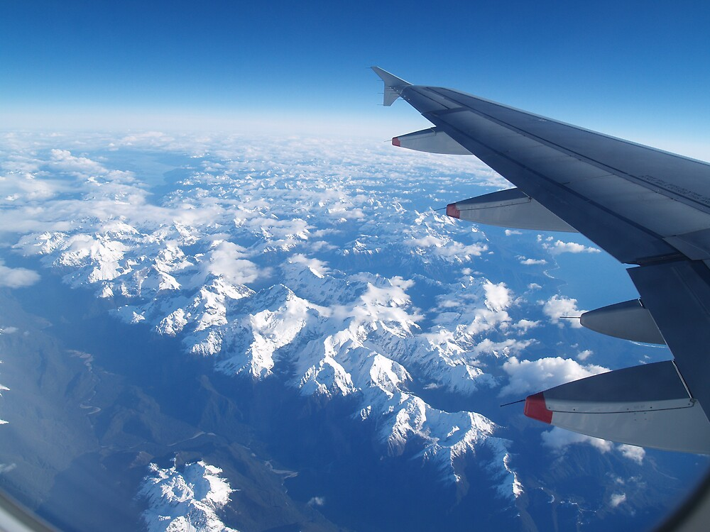 West Coast of South Island, New Zealand from airplane window by flash62au