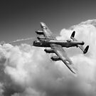 Lancaster B X KB799 above clouds B&W version by Gary Eason