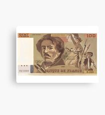 100 Old French Franc note bill Canvas Print