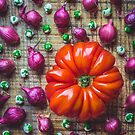 Still life with tomato, onions and wasabi peas by alan shapiro