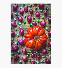 Still life with tomato, onions and wasabi peas Photographic Print