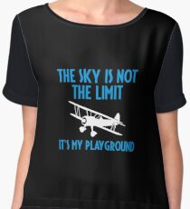 The Sky Is Not The Limit It's My Playground - Funny Airline Pilot Airplane Helicopter Flying Flyer Gift Women's Chiffon Top