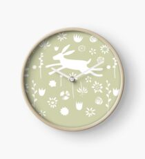 Hare in the Meadow Clock
