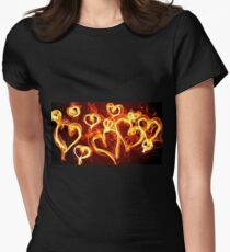 T-Shirt Hearts Burning Womens Fitted T-Shirt
