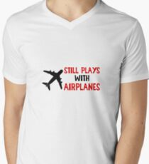 Still Plays With Airplanes - Funny Airline Pilot Airplane Helicopter Flying Flyer Gift Men's V-Neck T-Shirt