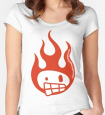 Disenchanted Burning Skull Women's Fitted Scoop T-Shirt