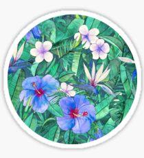 White Bird of Paradise & Blue Hibiscus Tropical Garden Sticker