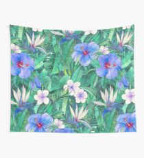 White Bird of Paradise & Blue Hibiscus Tropical Garden Wall Tapestry