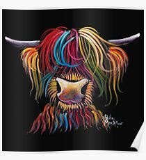 Scottish Hairy Highland Cow ' NELLY ' by Shirley MacArthur Poster