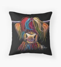 Scottish Hairy Highland Cow ' NELLY ' by Shirley MacArthur Throw Pillow