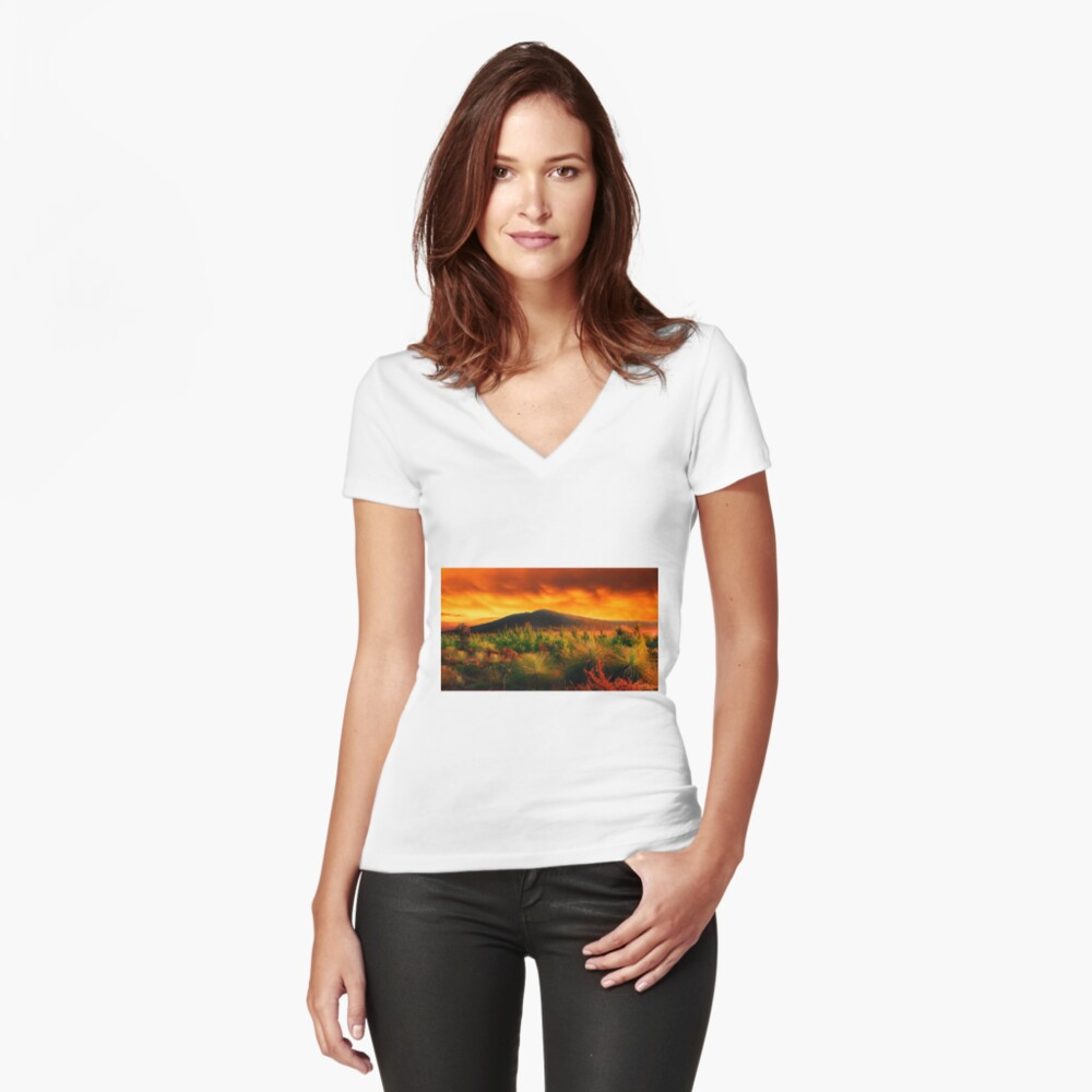 Fire In The Sky  Women's Fitted V-Neck T-Shirt Front
