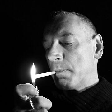 self portrait of the artist lighting a fag by edeology