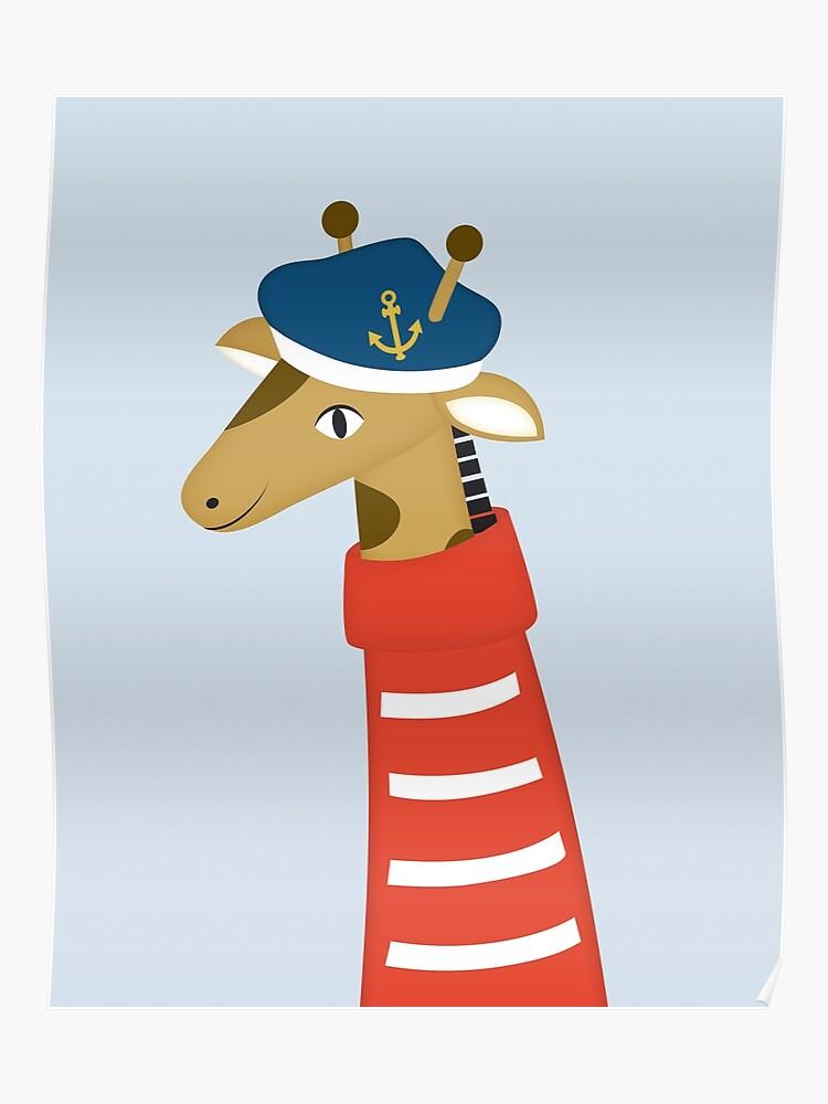 Matrose Giraffe Maritime Kinderzimmer Babyzimmer Deko Poster