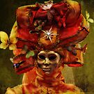 Venetian Carnival masquerade, golden mask and red theatrical costume by gameover