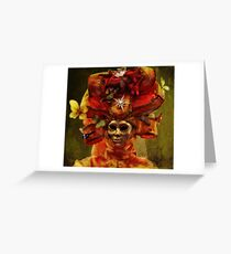 Venetian Carnival masquerade, golden mask and red theatrical costume Greeting Card
