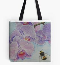 Bee aproaching Phalaenopsis Orchid Tote Bag