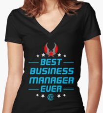 business manager - solve and travel design Women's Fitted V-Neck T-Shirt