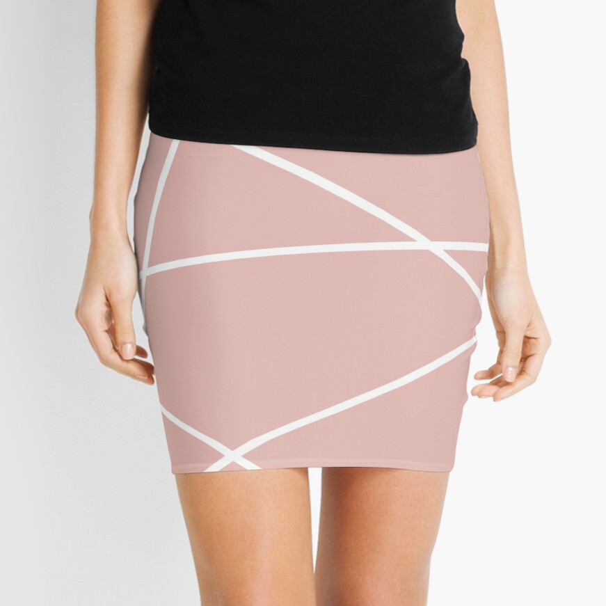 minimale Chic Blush rosa weiße Linien rosa geometrisches Muster Minirock