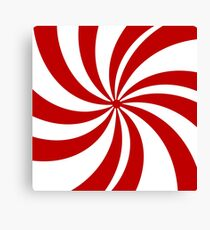 Merry Xmas red white swirls Christmas Candy Cane  Canvas Print