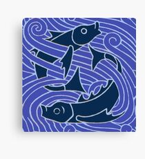 Blue fish Swimming Waves Canvas Print