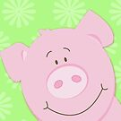 Cute Happy Pig - Green by JessDesigns