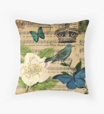 vintage Bird butterfly rose music notes Paris Throw Pillow