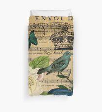 Vintage Vogel Schmetterling Rose Musik Notizen Paris Bettbezug