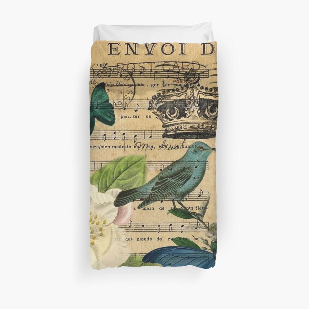 vintage Bird butterfly rose music notes Paris Duvet Cover