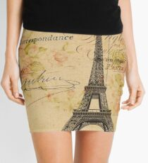 vintage floral retro  paris eiffel tower Mini Skirt