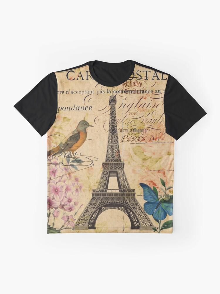 Alternative Ansicht von Vogel-Schmetterlingsmode des Vintagen Eiffelturms Blumen Grafik T-Shirt