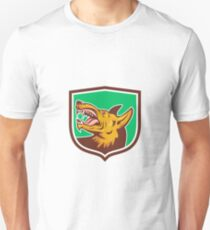 Angry Wild Dog Fangs Side Shield Retro Unisex T-Shirt
