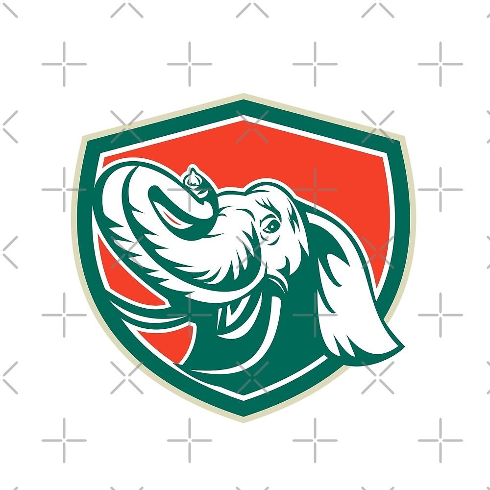 Elephant Head Tusk Shield Retro by patrimonio