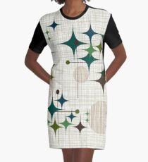 Eames Era Starbursts and Globes 1 (bkgrnd) Graphic T-Shirt Dress