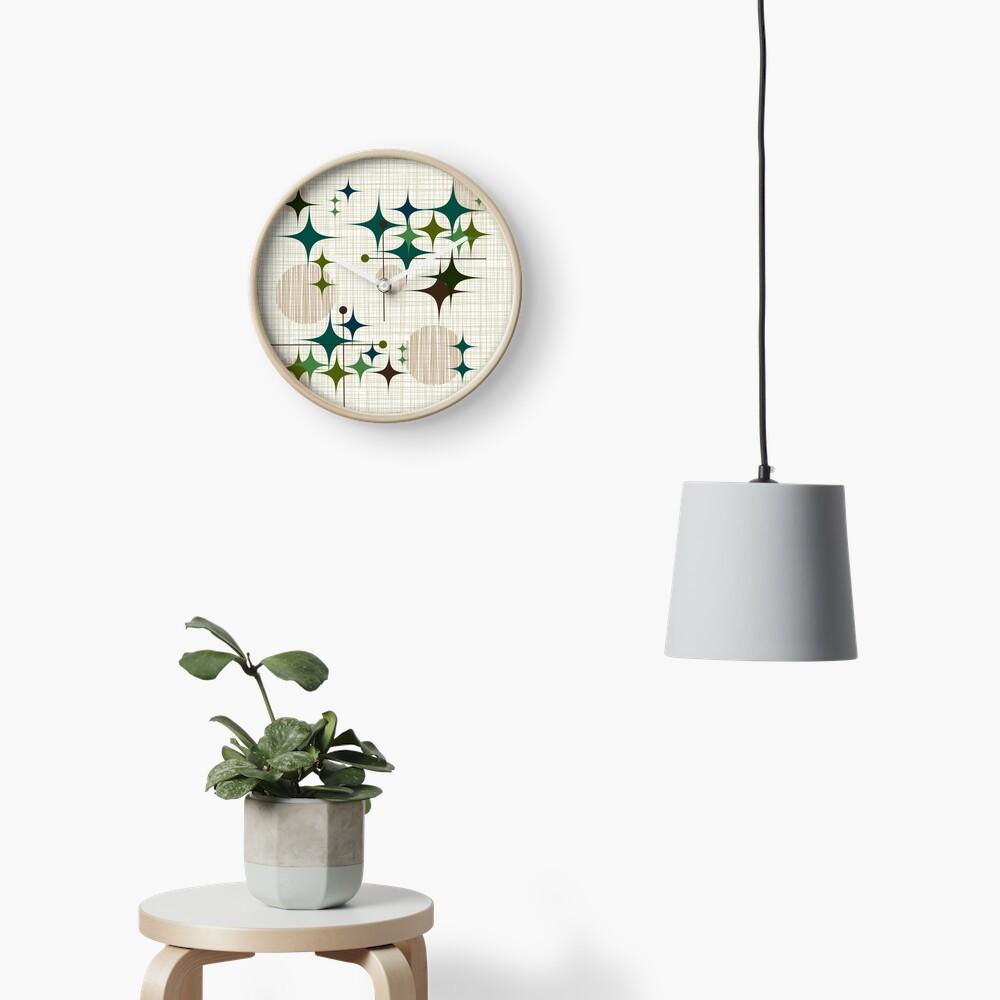 Eames Era Starbursts and Globes 1 (bkgrnd) Clock