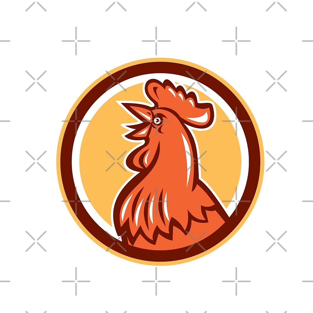 Chicken Rooster Head Crowing Circle Retro by patrimonio