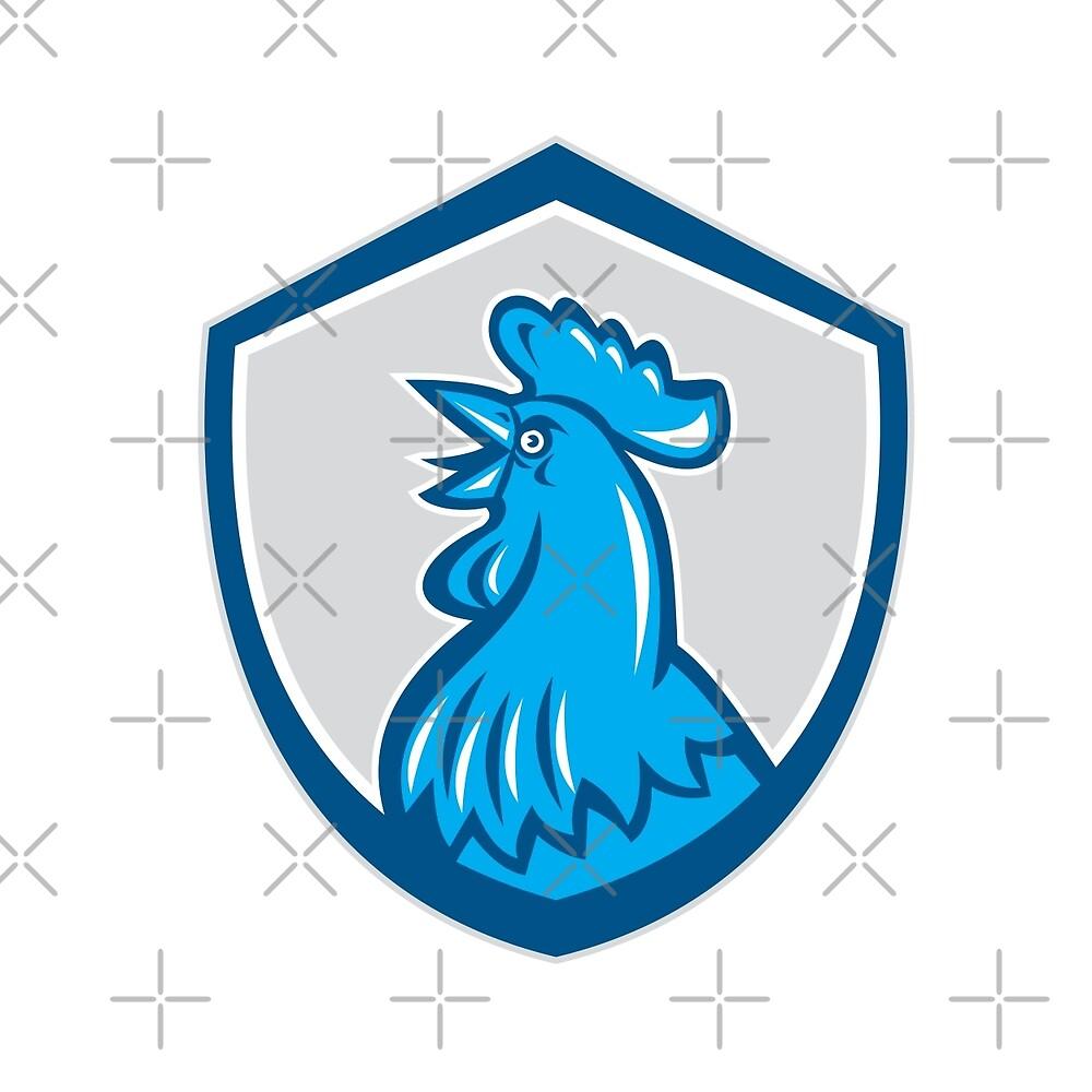 Chicken Rooster Head Crowing Shield Retro by patrimonio
