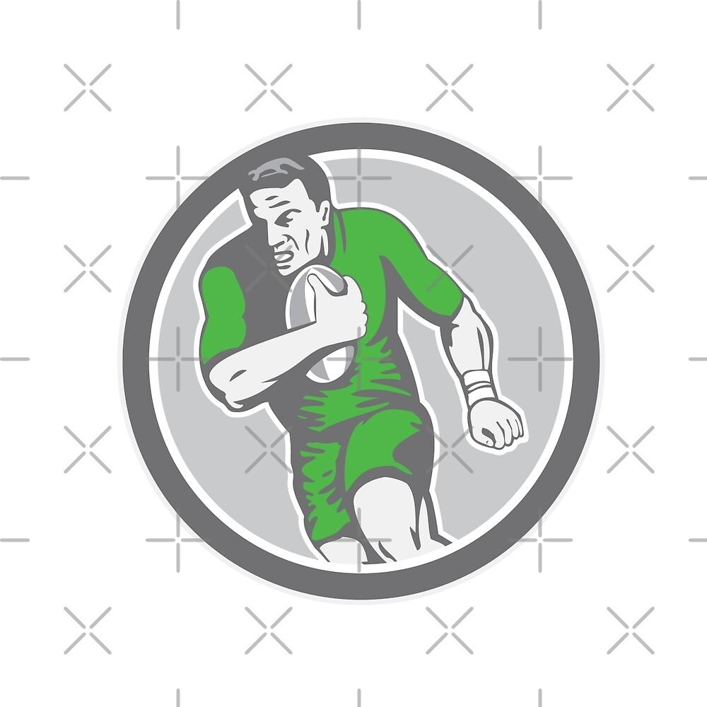 Rugby Player Running Ball Circle Retro by patrimonio
