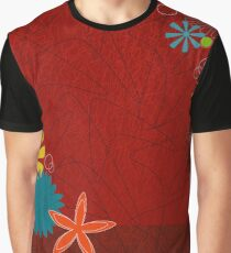 Retro 60s Brick Red Floral  Graphic T-Shirt