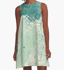 Cape Town Map Blue Vintage A-Line Dress