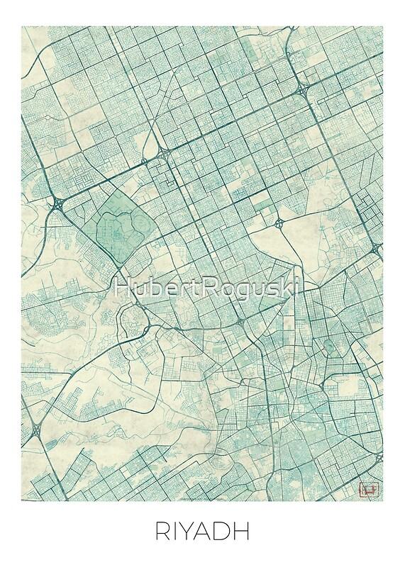 Riyadh Map Blue Vintage Posters By HubertRoguski Redbubble - riyadh map