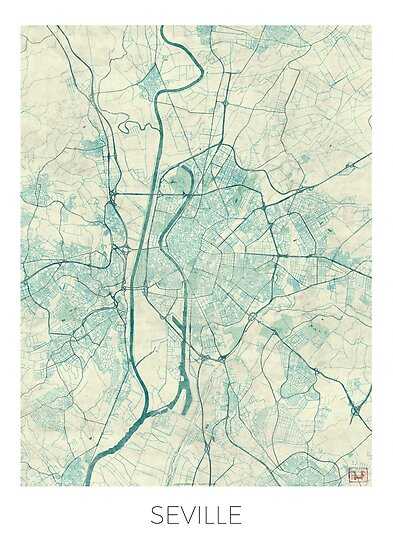 Seville Map Blue Vintage Posters by HubertRoguski Redbubble