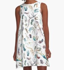 Dinosaurs (White) A-Line Dress