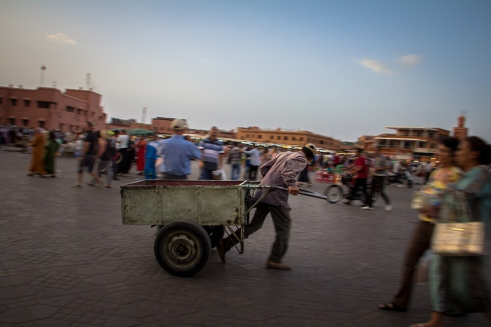Pulling a Pushcart, Marrakech by Bob Ramsak