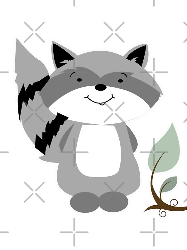 Enchanted Forest Raccoon Cartoon Animal Stickers by JessDesigns