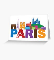 Paris Skyline Text Champagne Color Illustration Greeting Card