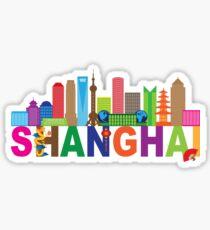 Shanghai City Skyline Text Color Illustration Sticker