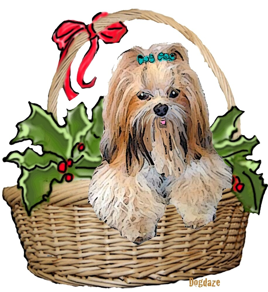 Lhasa in Christmas basket by IowaArtist